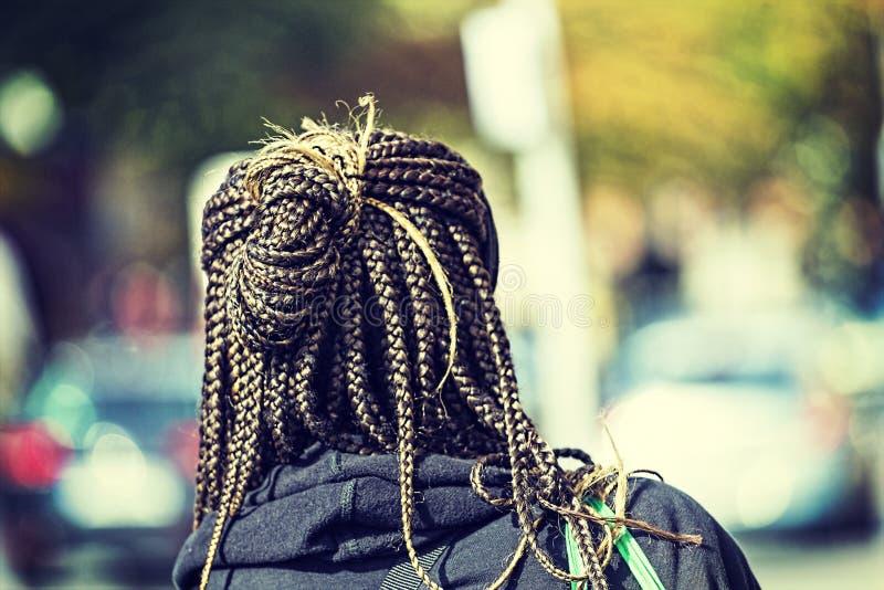 蓬松卷发辫子,辫子女孩发型非洲的头发,拷贝空间 免版税库存图片