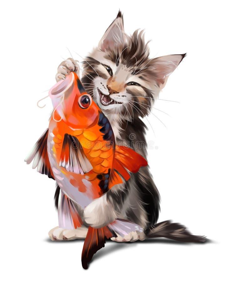蓬松猫和Koi日本人鱼 向量例证