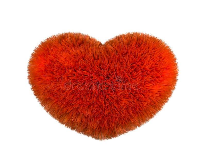 蓬松重点红色 在白色背景的毛茸的豪华的心脏 心形红色蓬松软的枕头或坐垫华伦泰的 库存例证