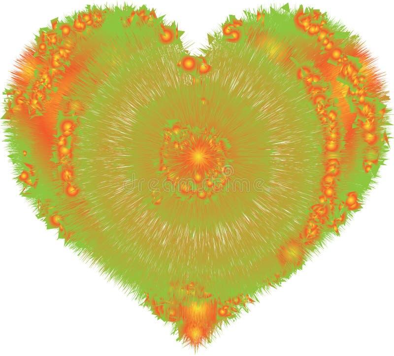 蓬松flur桔子和绿色心脏颜色 皇族释放例证