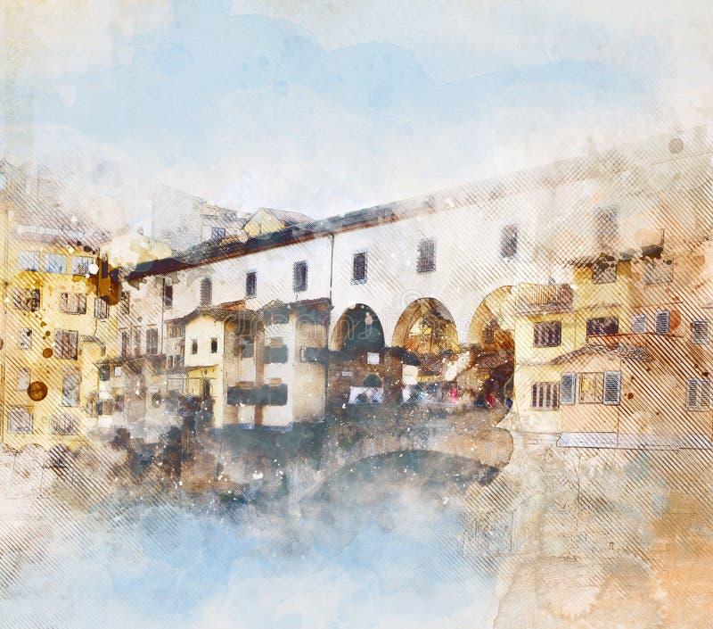 蓬特Vecchio水彩剪影在佛罗伦萨 皇族释放例证