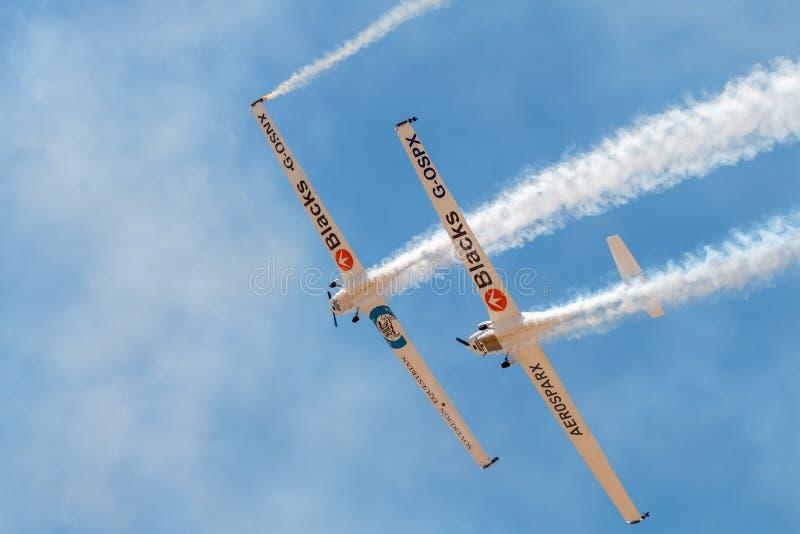 蓬蒂-迪索尔,葡萄牙- 3个JUNHO,2019年:特技队执行特技飞行 葡萄牙空气山顶 库存图片