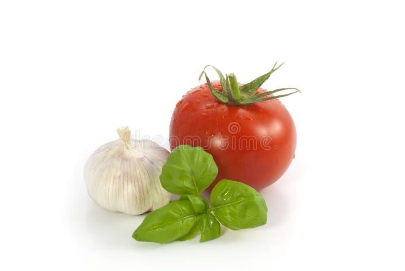 蓬蒿大蒜蕃茄 免版税库存图片