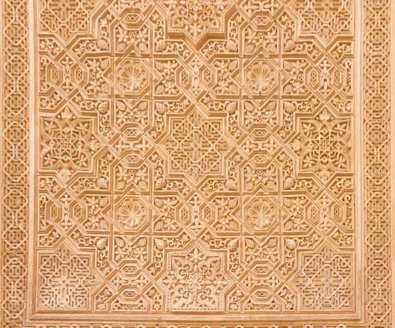 蔓藤花纹在阿尔罕布拉宫,格拉纳达,西班牙 免版税图库摄影