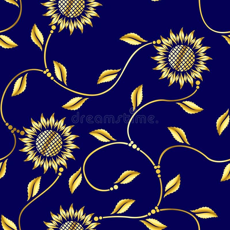 蔓藤花纹模式莎丽服无缝的向日葵 库存例证