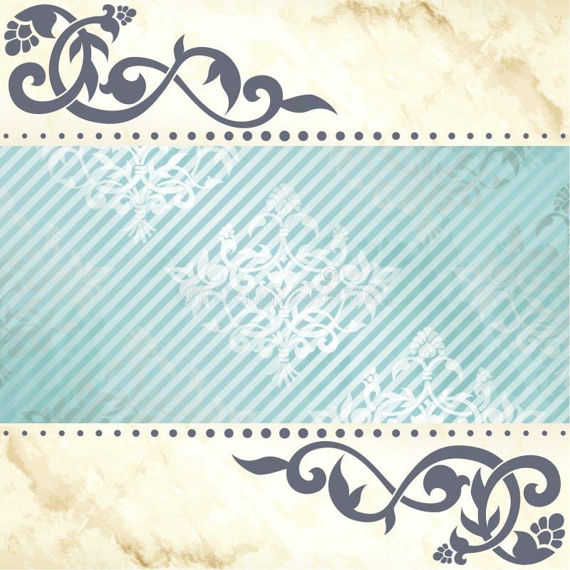 蔓藤花纹背景蓝色花卉金子 皇族释放例证