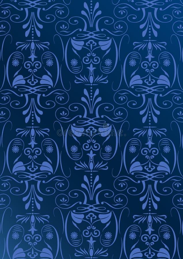 蔓藤花纹蓝色墙纸 库存例证