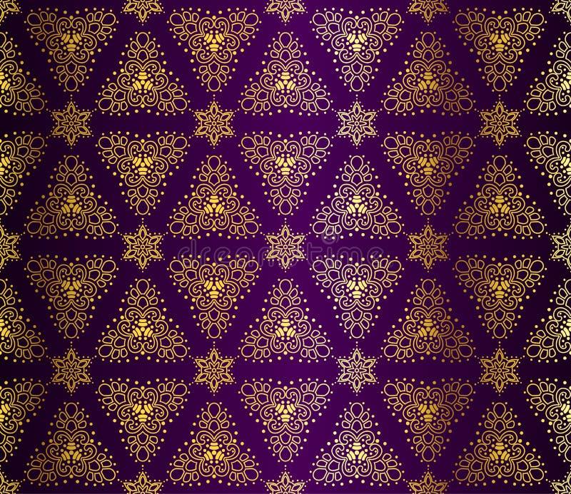 蔓藤花纹金子紫色无缝 库存例证