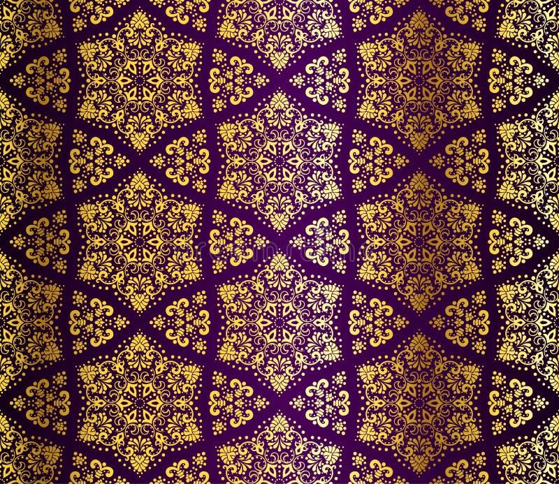 蔓藤花纹金子紫色无缝 皇族释放例证