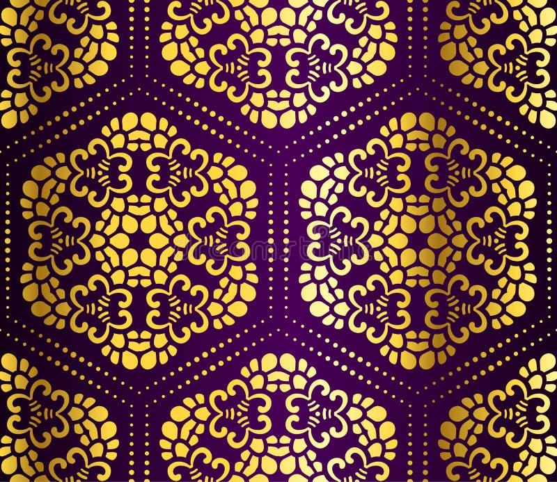 蔓藤花纹金蜂窝紫色无缝 皇族释放例证