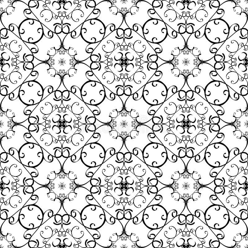 蔓藤花纹黑白传染媒介线无缝的样式 手拉的线艺术网眼图案阿拉伯样式东方装饰品 ?? 库存例证