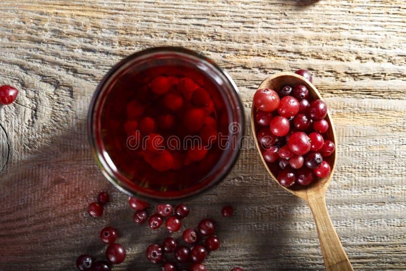 蔓越桔在玻璃的果汁饮料 免版税库存照片