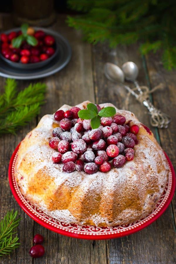 蔓越桔蛋糕装饰用搽粉的糖和新鲜的莓果f 免版税库存图片