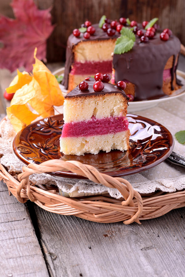 蔓越桔蛋糕 免版税库存照片