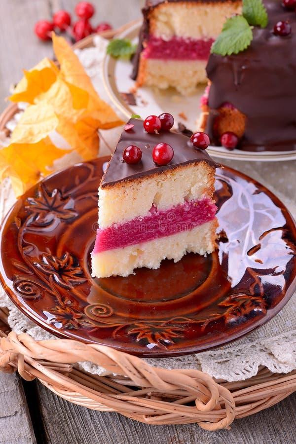 蔓越桔蛋糕 免版税图库摄影
