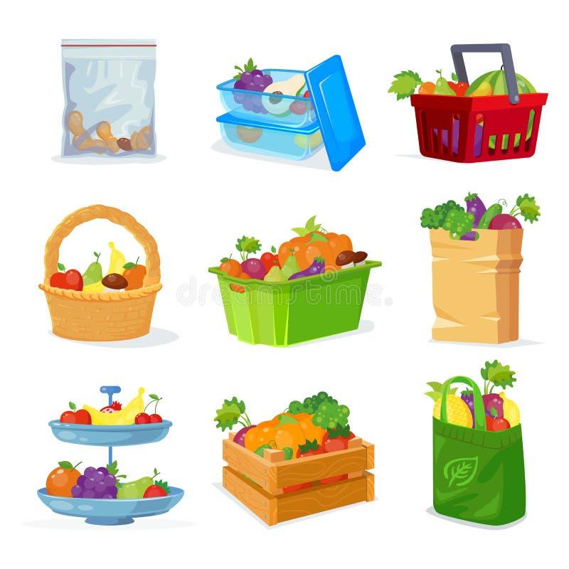 蔬菜和水果另外存贮在房子里和在商店 水果篮 果子板材 卓有成效的集合 向量例证