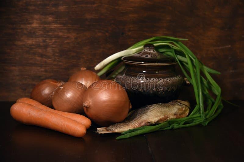 蔬菜和鱼 免版税库存照片
