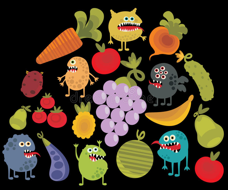 蔬菜和水果与微生物 向量例证