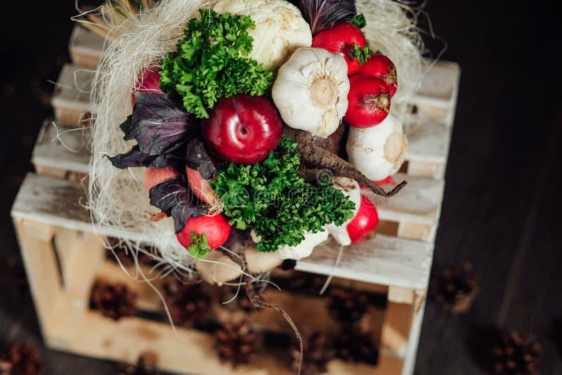 蔬菜和水果原始的花束  免版税图库摄影