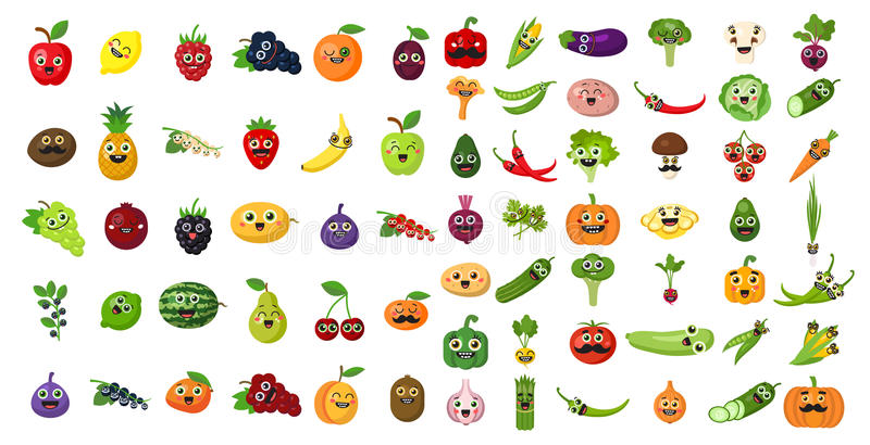 蔬菜和水果面孔集合 皇族释放例证