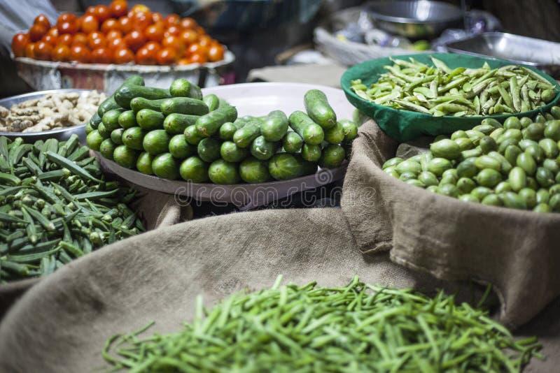 蔬菜批发市场在贾姆讷格尔,印度 免版税库存图片