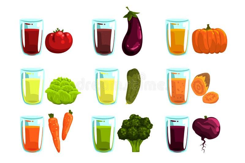 蔬菜汁设置,红萝卜,硬花甘蓝,茄子,夏南瓜,蕃茄,黄瓜,甜菜根,并且南瓜为a喝 库存例证