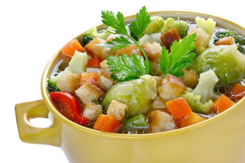 蔬菜汤用油煎方型小面包片 免版税图库摄影