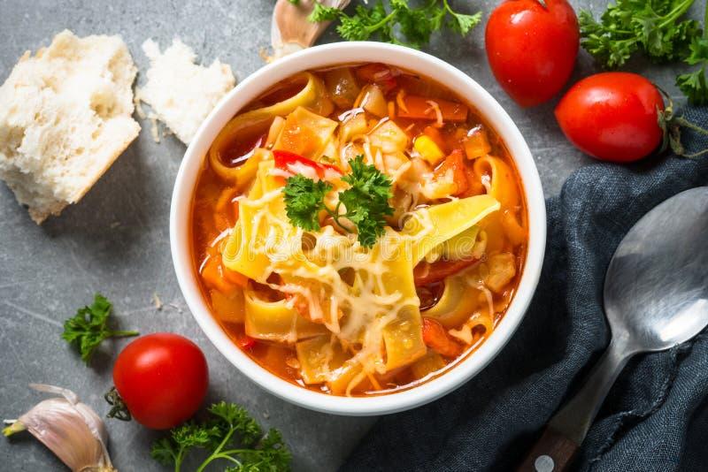 蔬菜通心粉汤传统意大利汤 免版税库存照片