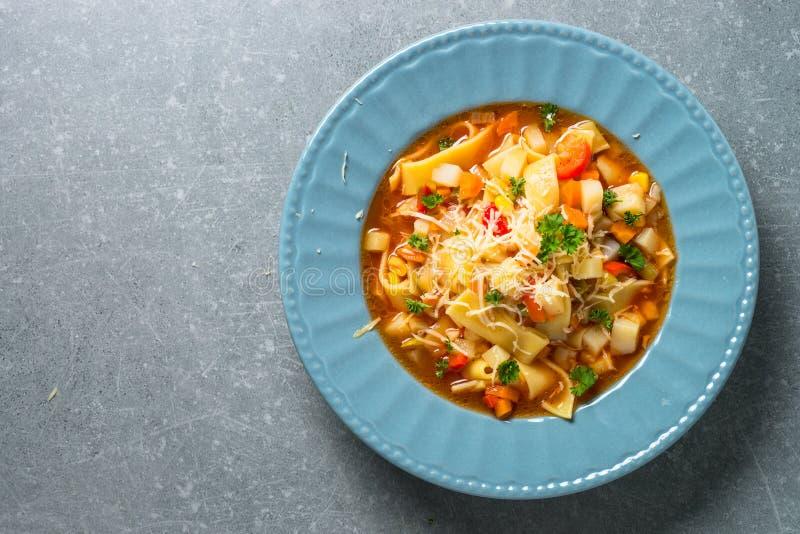 蔬菜通心粉汤传统意大利汤 库存图片