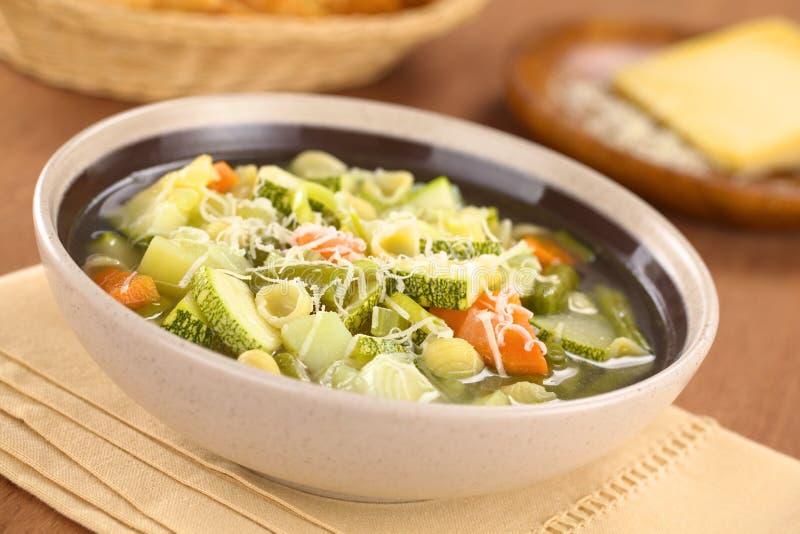 蔬菜通心粉汤汤 免版税库存图片
