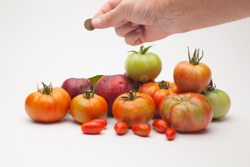 蕃茄、果子和它的价格在市场上 库存照片