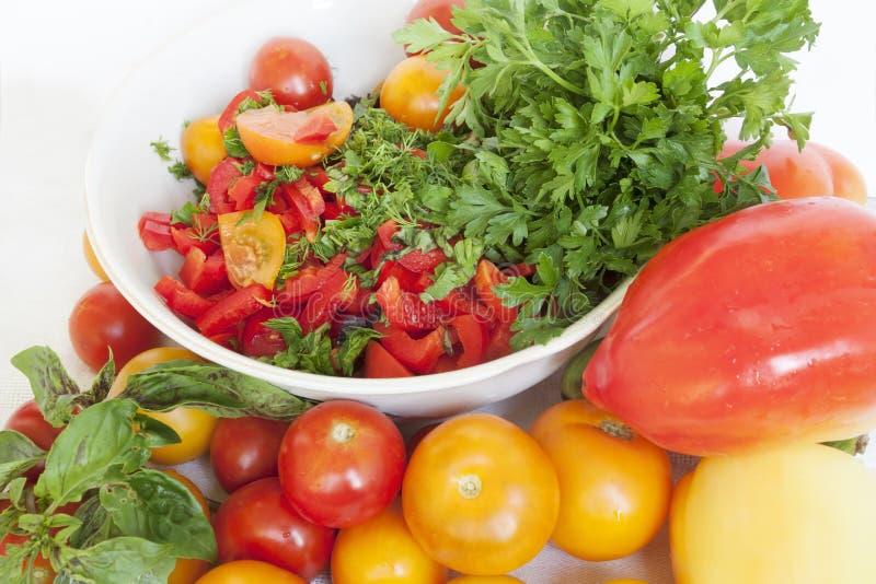 蕃茄、莴苣和胡椒 免版税库存照片