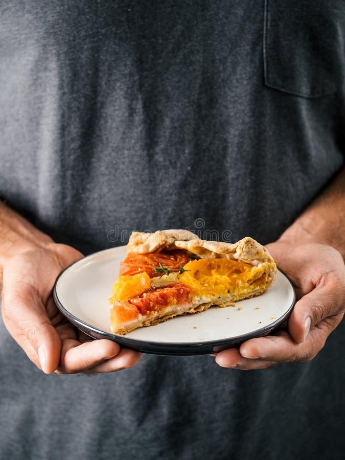 蕃茄和乳酪馅饼或者galette 库存图片