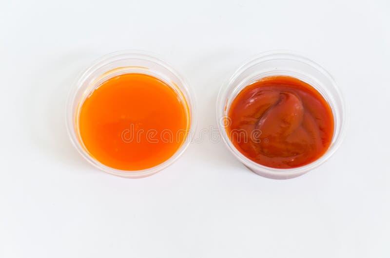 蕃茄和冷颤的调味汁在塑料盒在白色背景 免版税库存照片