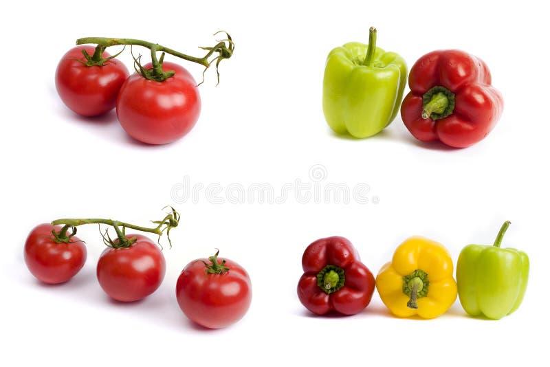 蕃茄和甜椒在白色背景 在白色背景的红色和黄色胡椒 蕃茄用五颜六色的胡椒 图库摄影