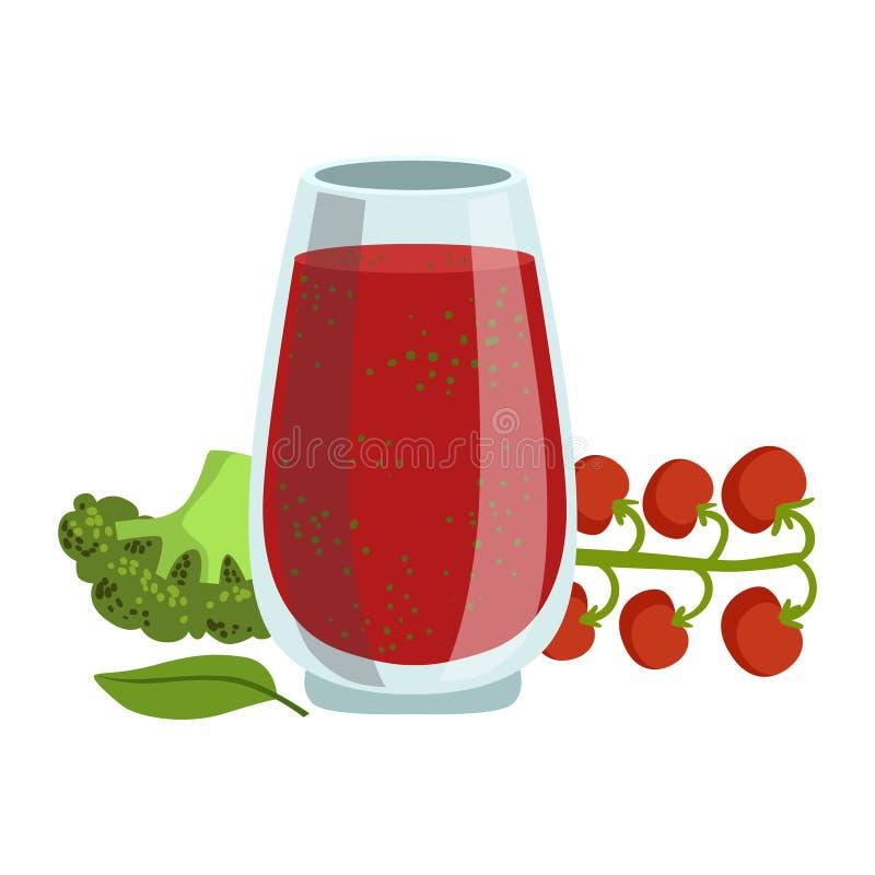 蕃茄和硬花甘蓝圆滑的人、非酒精新鲜的鸡尾酒在玻璃和成份它的传染媒介例证 库存例证
