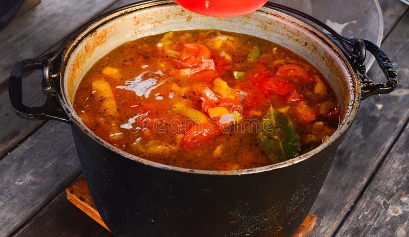 蕃茄和红辣椒汤在大黑平底深锅 免版税库存照片