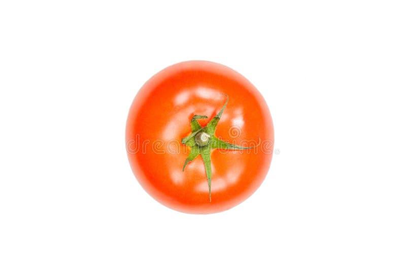 蕃茄在白色背景的空气浮动 免版税库存图片