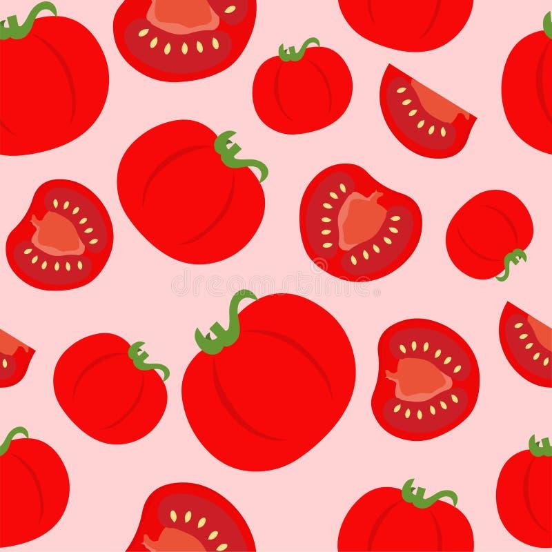 蕃茄无缝的样式背景传染媒介 库存例证