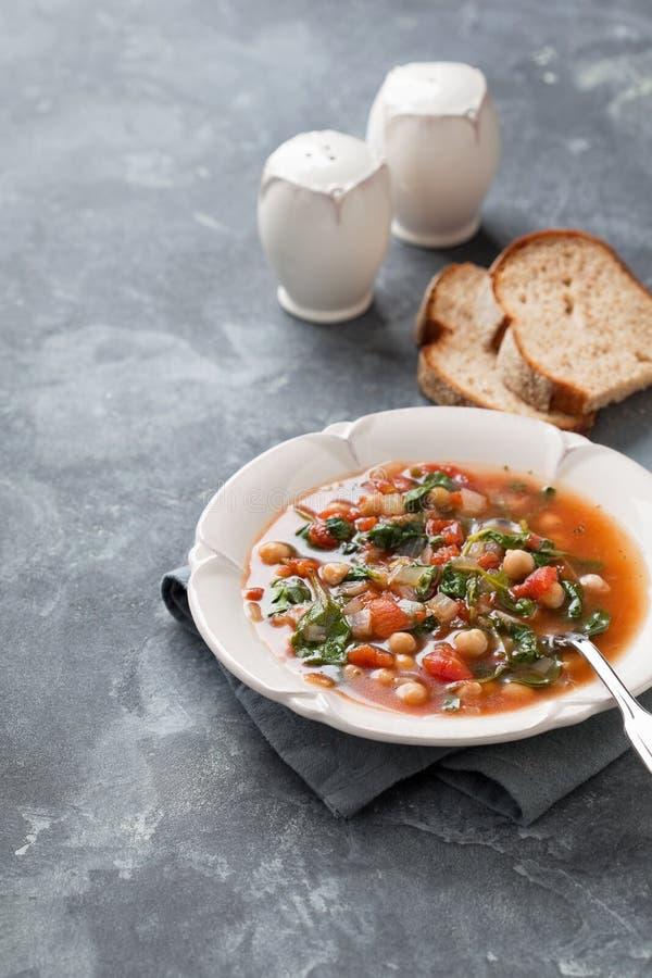 蕃茄汤用鸡豆和菠菜 免版税库存照片