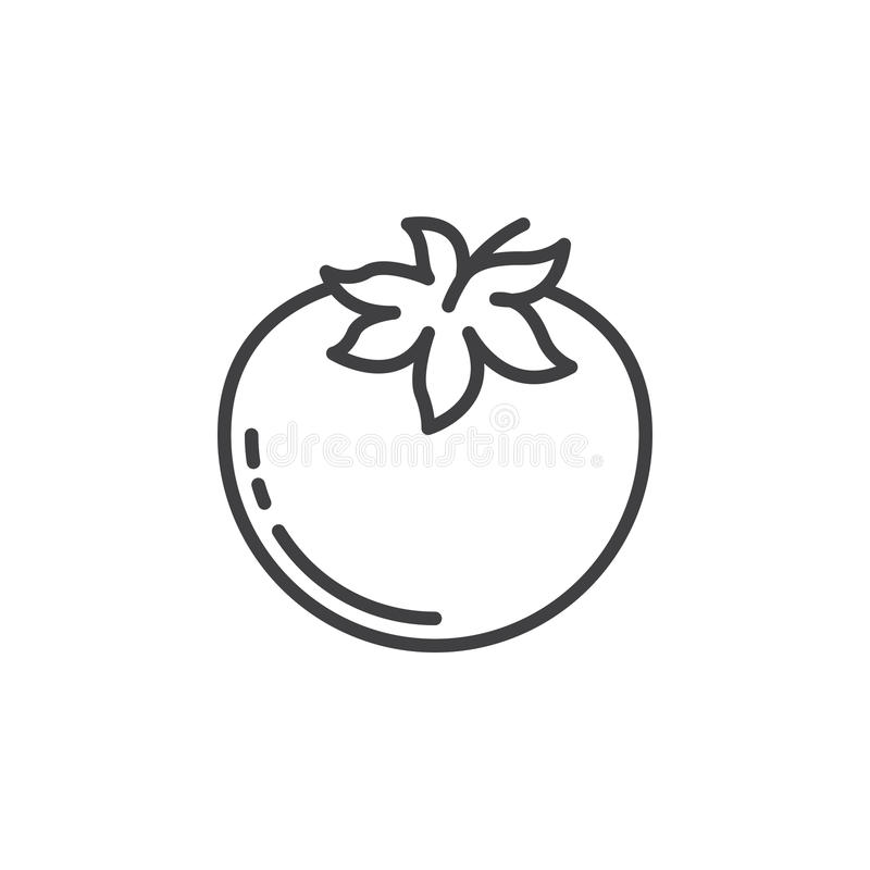蕃茄线象,概述传染媒介标志,在白色隔绝的线性图表 库存例证