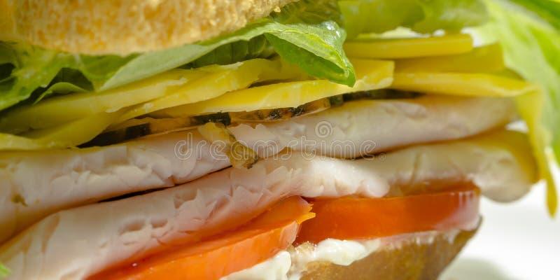 蕃茄肉乳酪和莴苣在熟食店三明治 库存照片