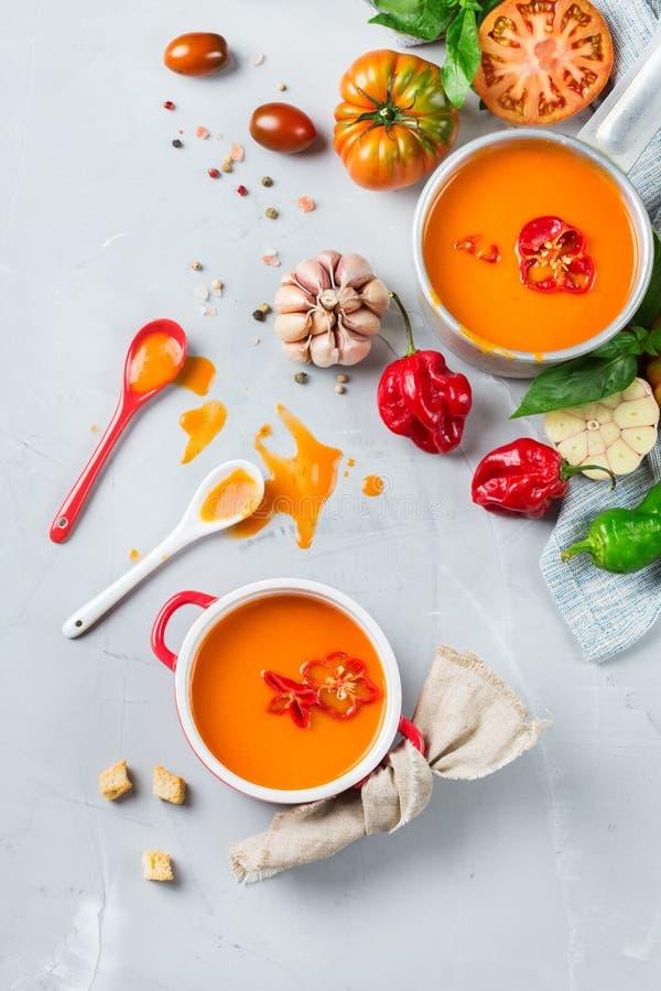 蕃茄胡椒汤gazpacho用大蒜 免版税库存图片