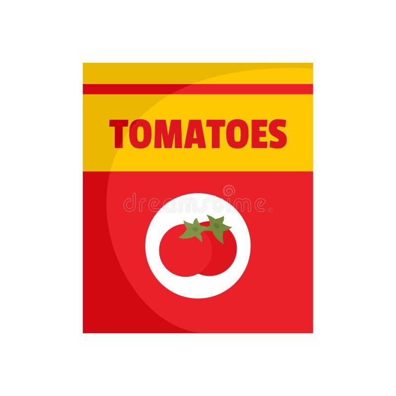 蕃茄装象,平的样式于罐中 皇族释放例证