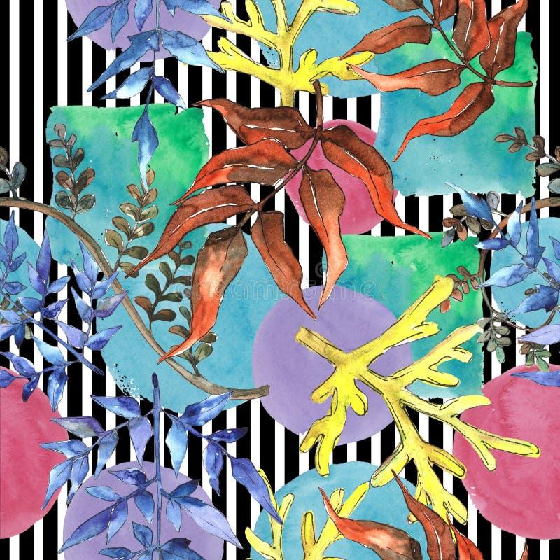 蕨叶子 叶子闸植物植物园花卉叶子 无缝的背景模式 库存例证