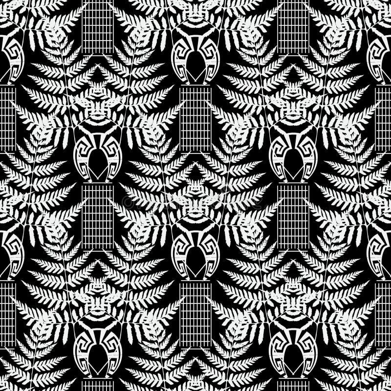 蕨离开黑白传染媒介无缝的样式 希腊几何抽象背景 重复与热带植物的背景, 向量例证