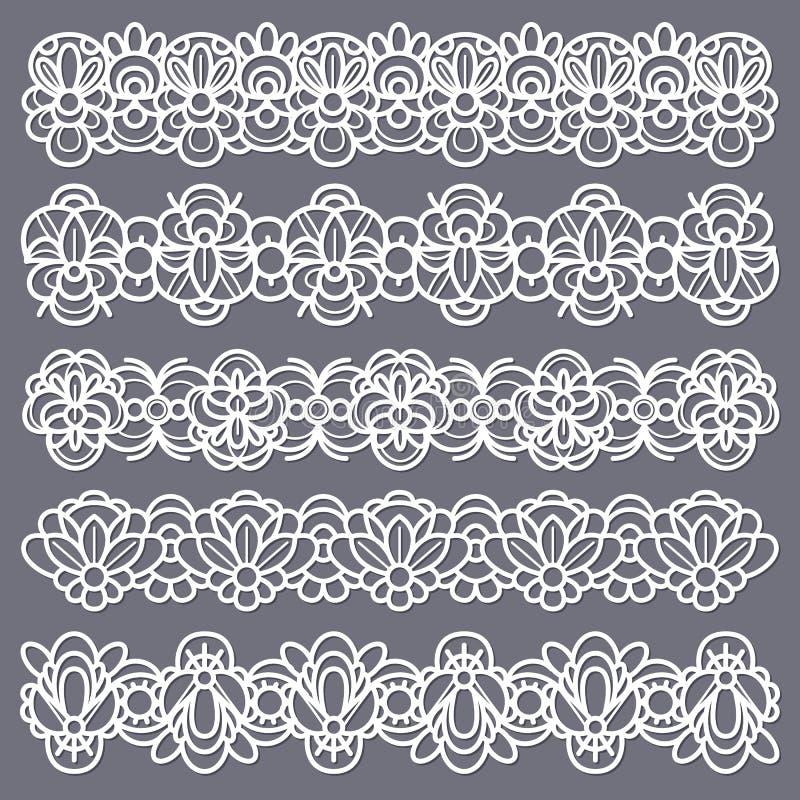 蕾丝边框 Seamless vintage cotton lace eyelets, horizontal stripe handmade Embroidered decorative ornate pattern 库存例证