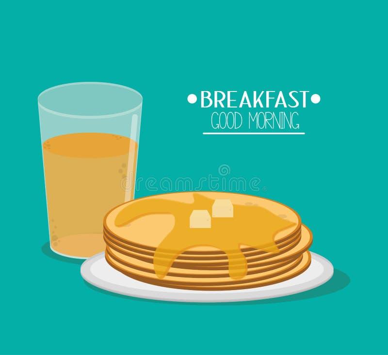 薄煎饼和早餐设计 皇族释放例证