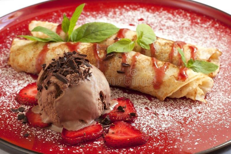 薄煎饼用冰淇凌 免版税图库摄影
