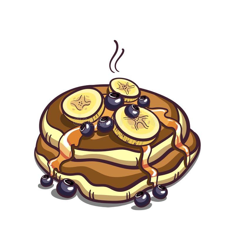 薄煎饼用在白色的香蕉 库存例证